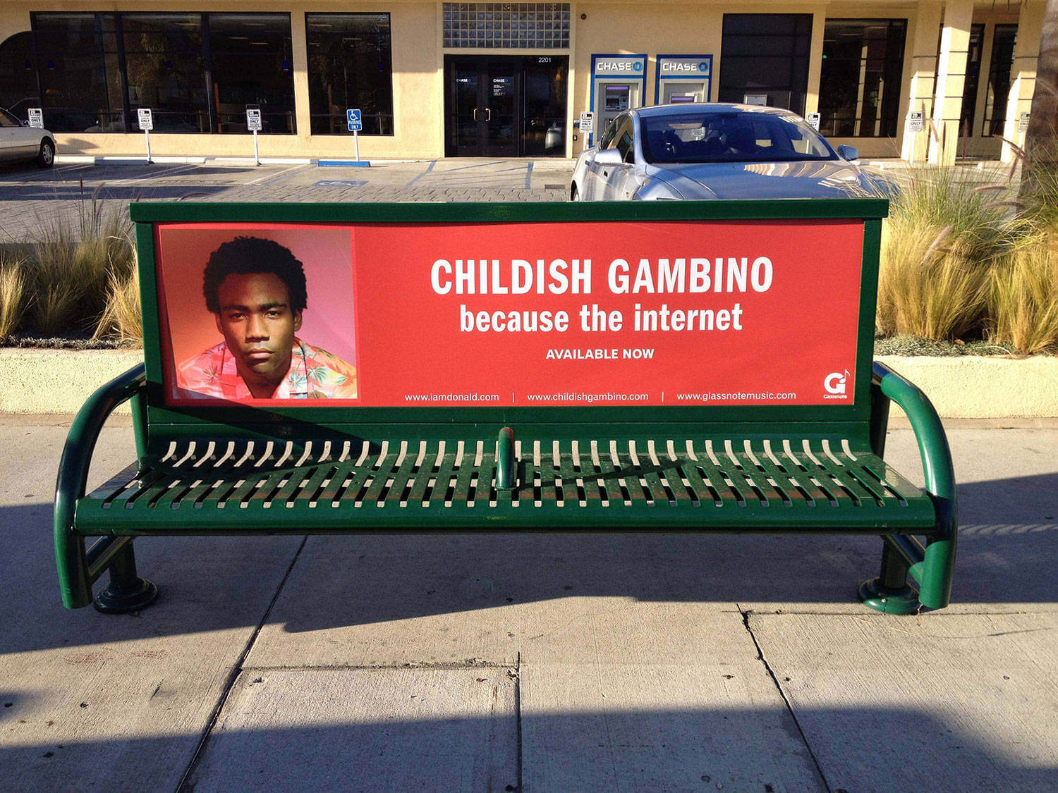 Childish Gambino Bench Ad Downtown Los Angeles Bus Bench Ads