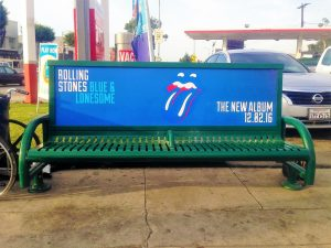 Bus Bench Ad in Los Angeles on Santa Monica Blvd for Rolling Stones