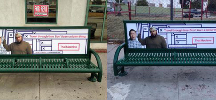 Bench Ads In Los Angeles For Maker Studios Thai Machine